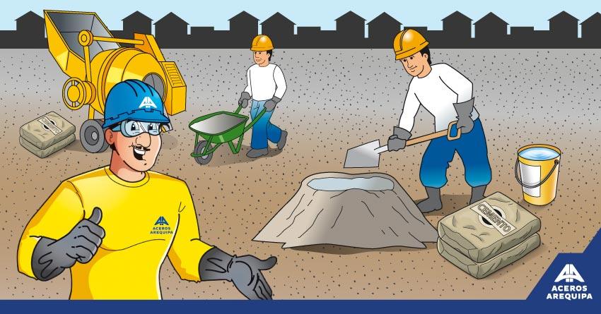 mezclado de -concreto Construyendo Seguro
